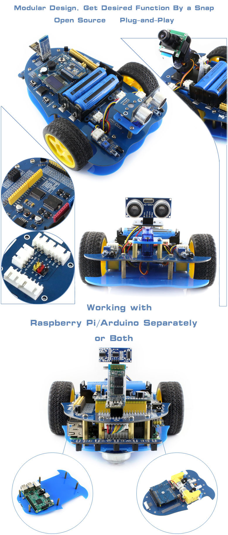Alphabot pi raspberry robot building kit
