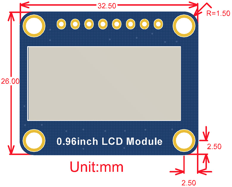 0.96inch LCD Module dimensions