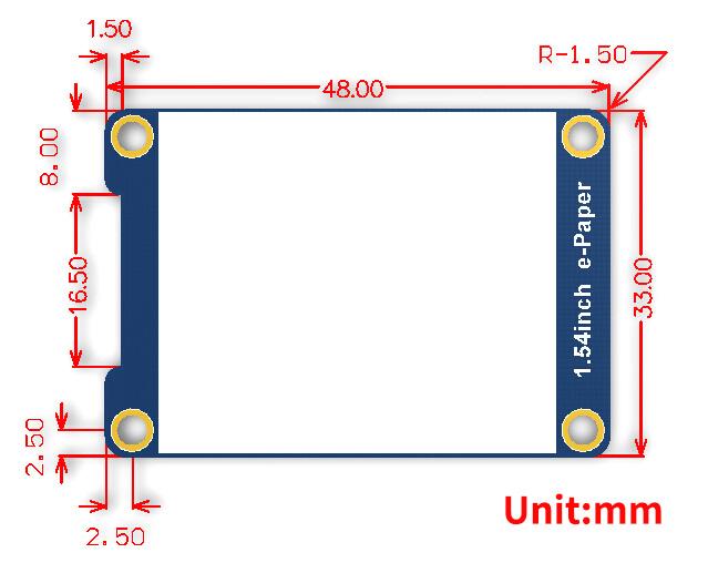 1.54inch e-Paper Module dimensions