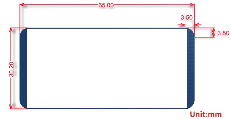 2.13inch e-Paper HAT dimensions