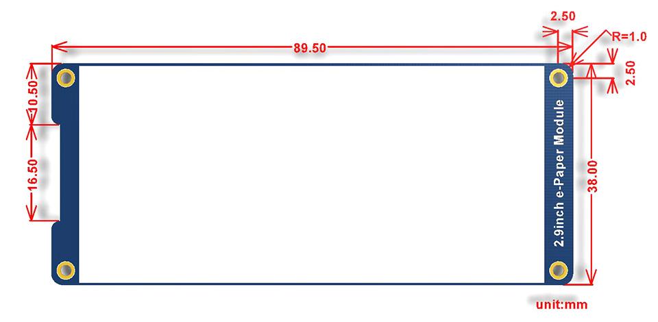 2.9inch e-Paper Module dimensions