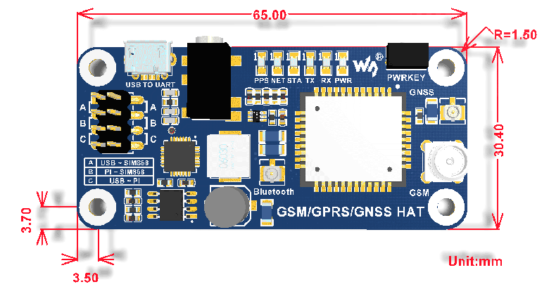 GSM/GPRS/GNSS/Bluetooth HAT for Raspberry Pi, Based on SIM868