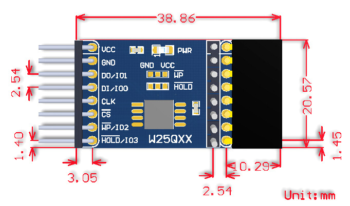 W25QXX DataFlash Board dimensions