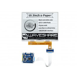 10.3inch e-Paper e-Ink Display HAT For Raspberry Pi, 1872×1404, Black / White, 16 Grey Scales, USB / SPI / I80