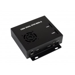 Dual Gigabit Ethernet Mini-Computer Based on Raspberry Pi Compute Module 4 (NOT Included), Metal Case, with Cooling Fan