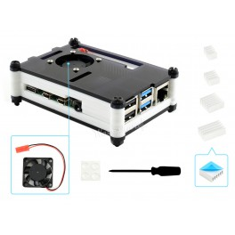Black/White Acrylic Case for Raspberry Pi 4, with Cooling Fan