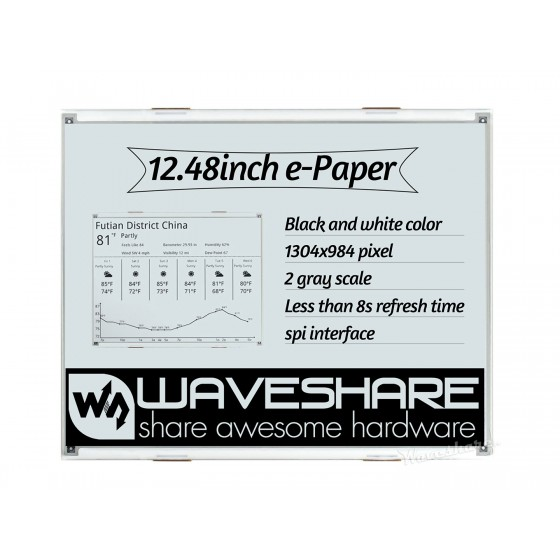 1304×984, 12.48inch E-Ink raw display, black/white dual-color