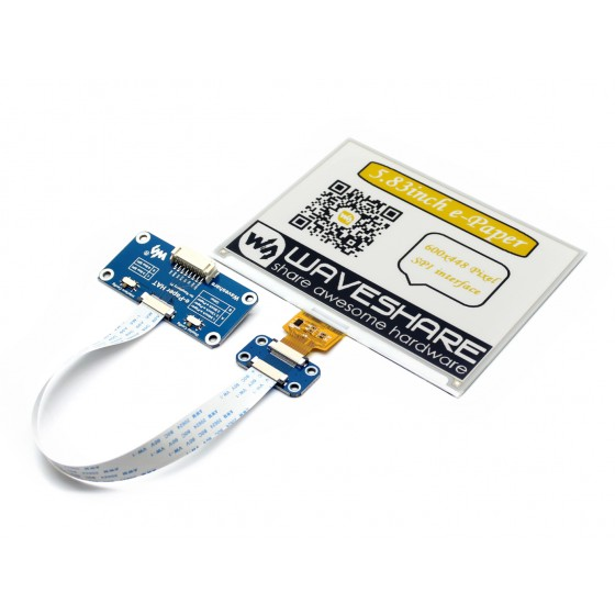 600x448, 5.83inch E-Ink display HAT for Raspberry Pi, yellow/black/white three-color