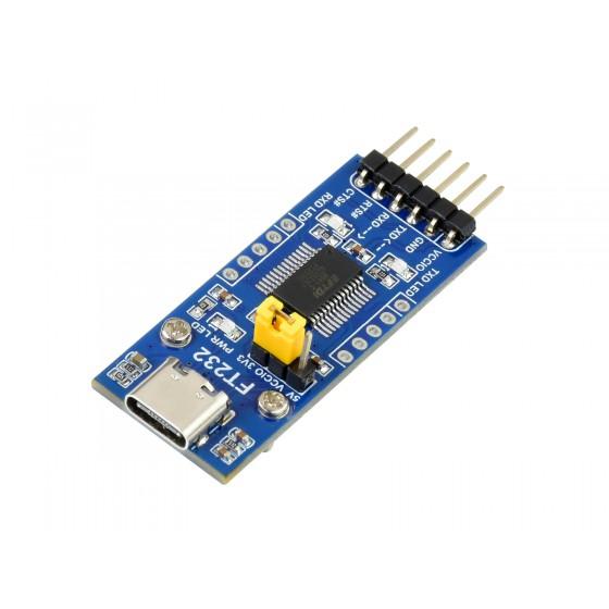FT232 USB UART Board (Type C), USB To UART (TTL) Communication Module, USB-C Connector