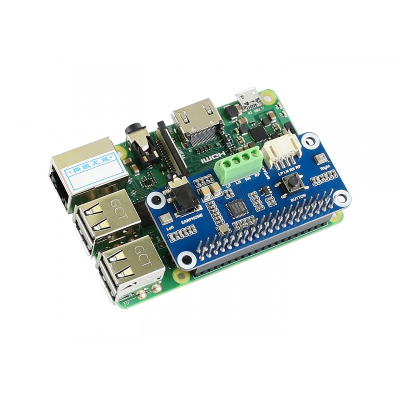 WM8960 Audio HAT for Raspberry Pi, Hi-Fi, Stereo CODEC, Play/Record