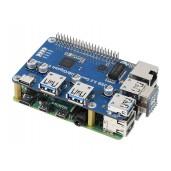 USB 3.2 Gen1 And Gigabit Ethernet HUB HAT for Raspberry Pi, 3x USB, 1x Gigabit ETH, Driver-Free